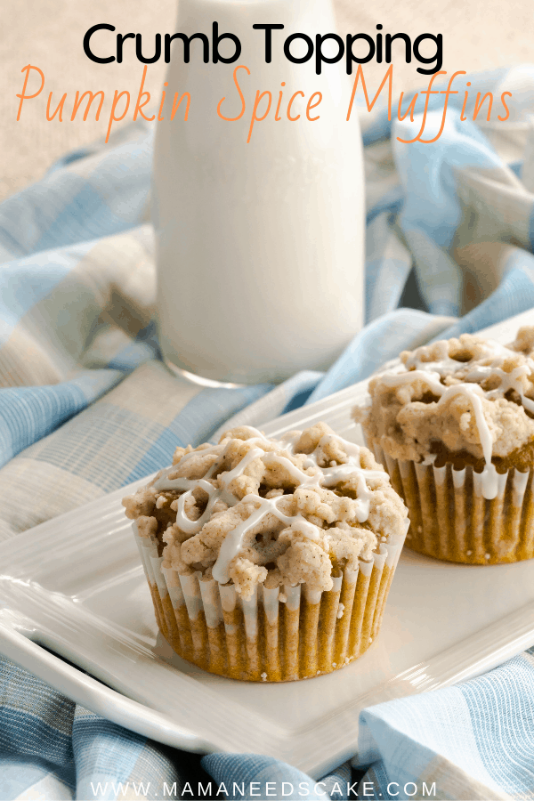 Muffins made with pumpkin, homemade pumpkin spice, and topped with a buttery streusel. Drizzled on these cupcakes is a spiced vanilla glaze. #pumpkinspice #muffins #pumpkinmuffins #crumbtopping #streuseltopping #breakfast #pumpkinbreafkast #pumpkindessert #homemadepumpkinspice #thanksgiving #holiday #fallflavors