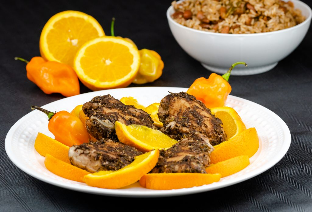 """This Jamaican Jerk recipe is made with chicken thighs and with """"made from scratch"""" seasonings. Made in the Instant Pot this recipe is delicious, flavorful, and ready in less than 30 minutes."""