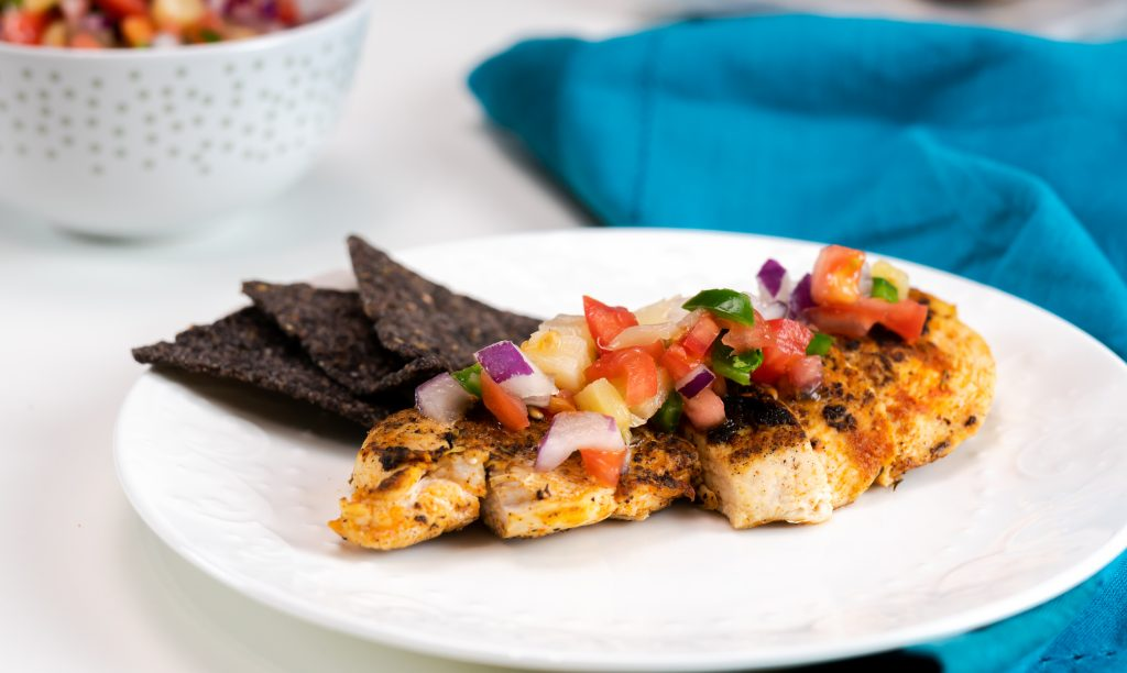 Deliciously moist blackened chicken served with fresh and homemade pico de gallo.