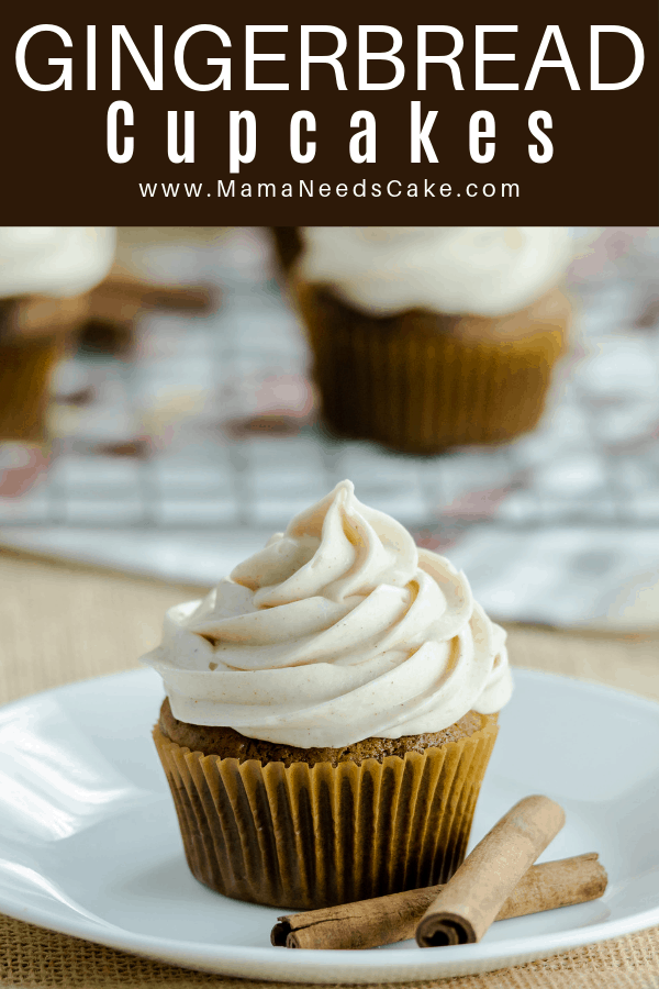 Cupcakes with delicious gingerbread spices. Topping this gingerbread classic flavor is a spiced buttercream frosting. #cupcakes #creamcheese #creamcheesefrosting #gingerbread #thanksgiving #christmasdesserts #thanksgivingdesserts #cupcakeflavors #madefromscratch #cupcakerecipes #mamaneedscake