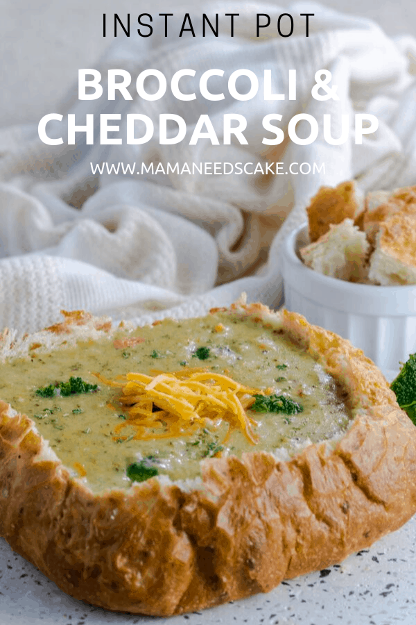 Deliciously easy and cheesy broccoli & cheddar soup made in the Instant Pot and ready in less than 30 minutes. Easy to make and great for meatless Mondays! #broccolicheddarsoup #instantpotsoup #copycatrecipe #mealunder30minutes #broccoli #cheddarsoup #meatlessmonday