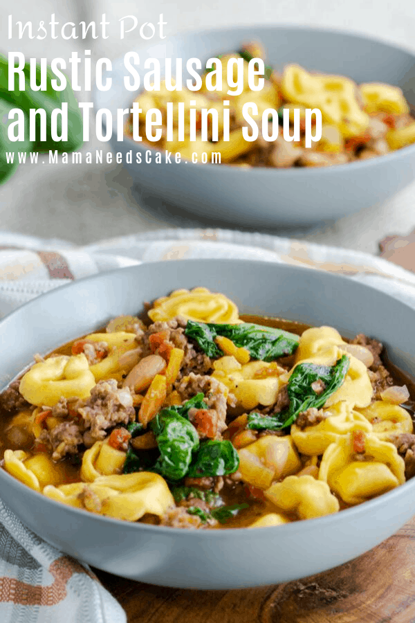 Warm, comforting, and delicious Instant Pot tortellini soup made with mild Italian sausage, diced tomatoes, cannellini beans, carrots, and more! Made in less than 30 minutes! #instantpot #sausagesoup #pressurecookersoup #fallsoup #soupsforfall #souprecipes #tortellinisoup #soupfordinner #heartysoup