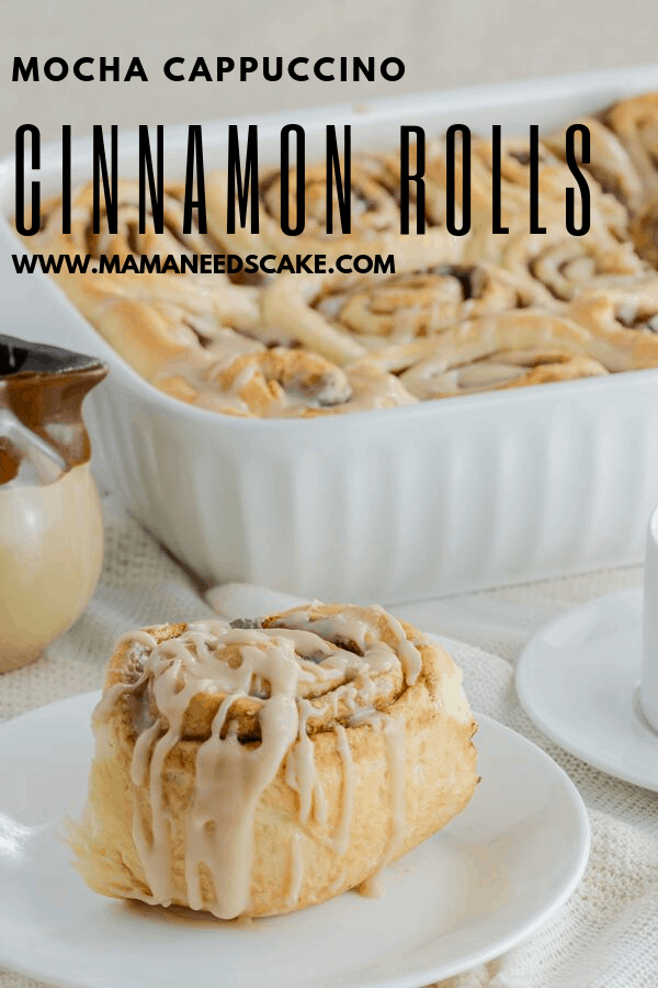 AD Delicious and easy cinnamon roll recipe with a mocha filling and a sweet cappuccino glaze. #HomemadeCinnamonRolls #BakeFromScratch #mochacappuccino #breakfastrolls #dessertforbreakfast #easycinnamonrolls #glazedcinnamonrolls #madewithyeast