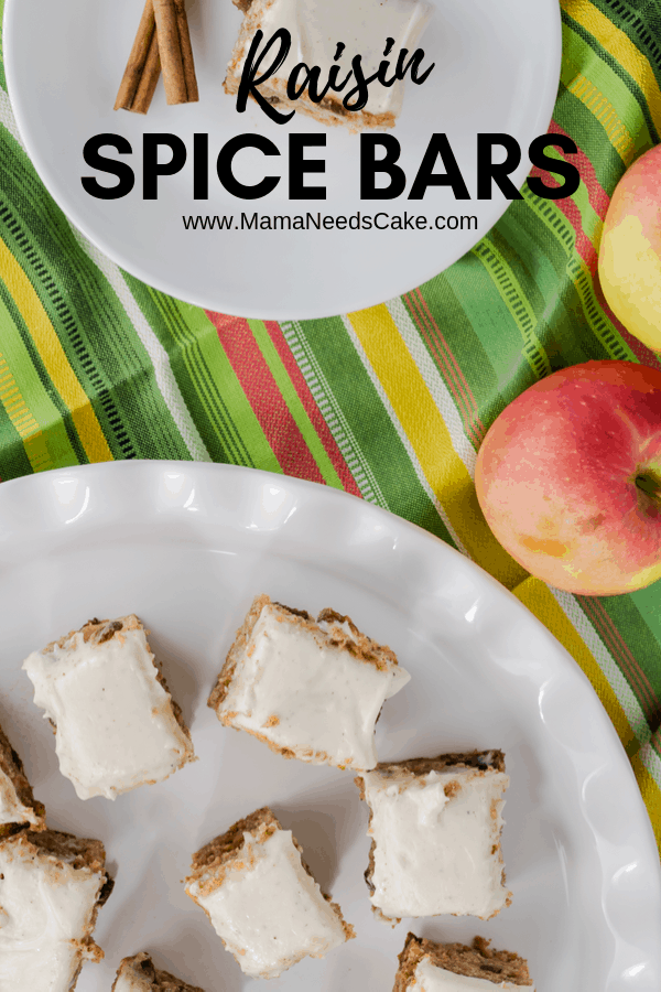 Flavors of cinnamon, allspice, and nutmeg make these raisin spice cake bars flavorful. The addition of applesauce makes these cake bars moist and delicious! The brown sugar cream cheese frosting creates a creamy and smooth topping for this already delicious dessert.