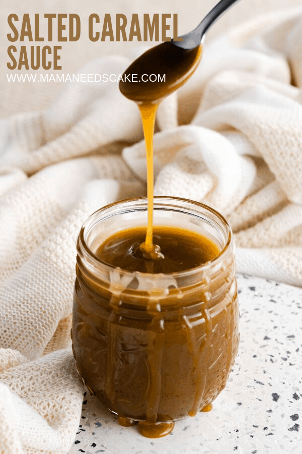 Ooey, gooey, homemade salted caramel sauce great for use as a filling in cupcakes and as drizzling on treats. Tastes great blended into frosting and is delicious on ice cream! #saltedcaramelsauce #homemadecaramel #easycaramelsauce #dessertopping #saltedcaramel #mamaneedscake #easydesserttopping