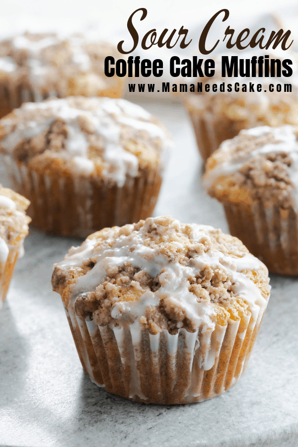 Deliciously moist sour cream coffee cake muffins filled with a layer of brown sugar and cinnamon. These muffins have a streusel topping made with butter, brown sugar, and cinnamon. A sweet vanilla glaze is drizzled on these muffins as the finishing touch. #coffeecake #sourcreamcoffeecake #coffeecakemuffins #muffins #breakfast #brunch #dessert #sourcream #mamaneedscake #easyrecipes #easymuffins