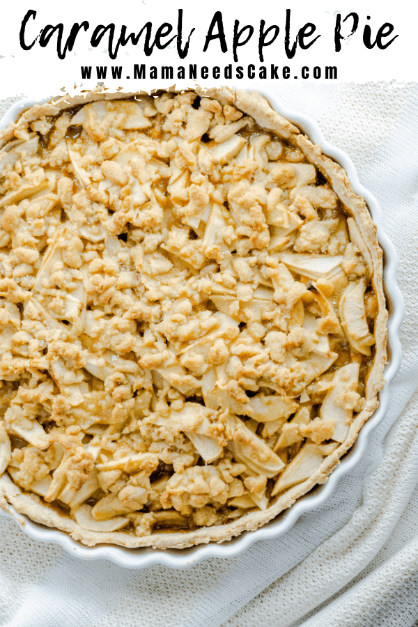 """This Caramel Apple Pie is made with a """"from scratch"""" crust.  It's filled with tart apples and drizzled with homemade caramel sauce.  This pie has a buttery streusel topping.  #applepie #fallpie #falldessert #pierecipe #caramelrecipe #caramelsauce #caramelapplepie #autumnflavors #baking #easybaking #holidaypie"""