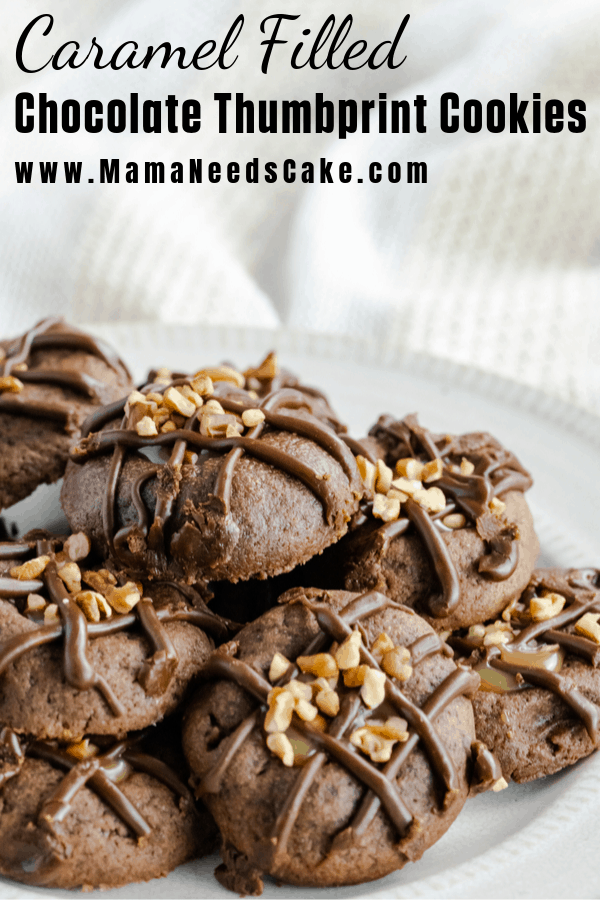 Homemade salted caramel-filled chocolate thumbprint cookies drizzled with chocolate and topped with pecans.  #christmascookies #cookieexchange #caramelfilled #homemadecaramel #cookierecipes #thumbprintcookies #holidaycookies #baking #holidaybaking