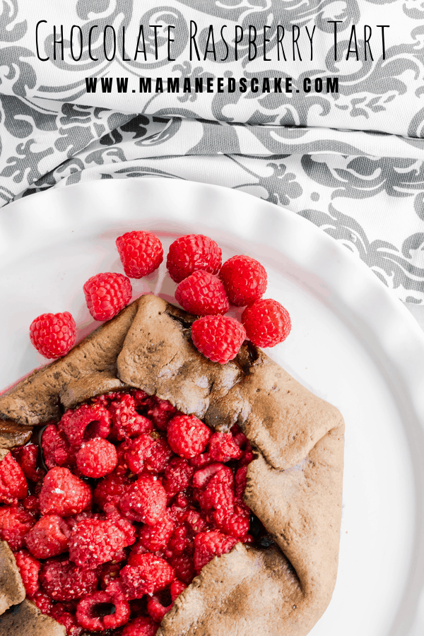 AD This Chocolate Raspberry Tart has a chocolate crust and is filled with raspberries and brown sugar.  #chocolate #tart #raspberry #raspberries #dessert #guiltfreedessert #guiltfree #dessertrecipes #foodblogger #chocolatetreats
