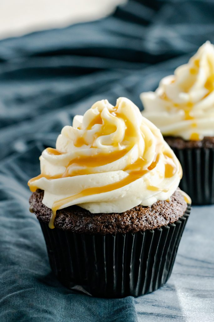 Mocha cupcakes with salted caramel frosting. Drizzled with salted caramel sauce