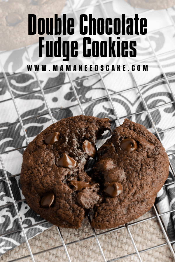 AD Made from scratch double chocolate fudge cookies. Full of flavor and easy to make! A very chocolaty way to kick off Chocoberfest 2019! #choctoberfest #chocotoberfest2019 #chocolatecookies #fudgecookies #doublechocolate #baking #easybaking