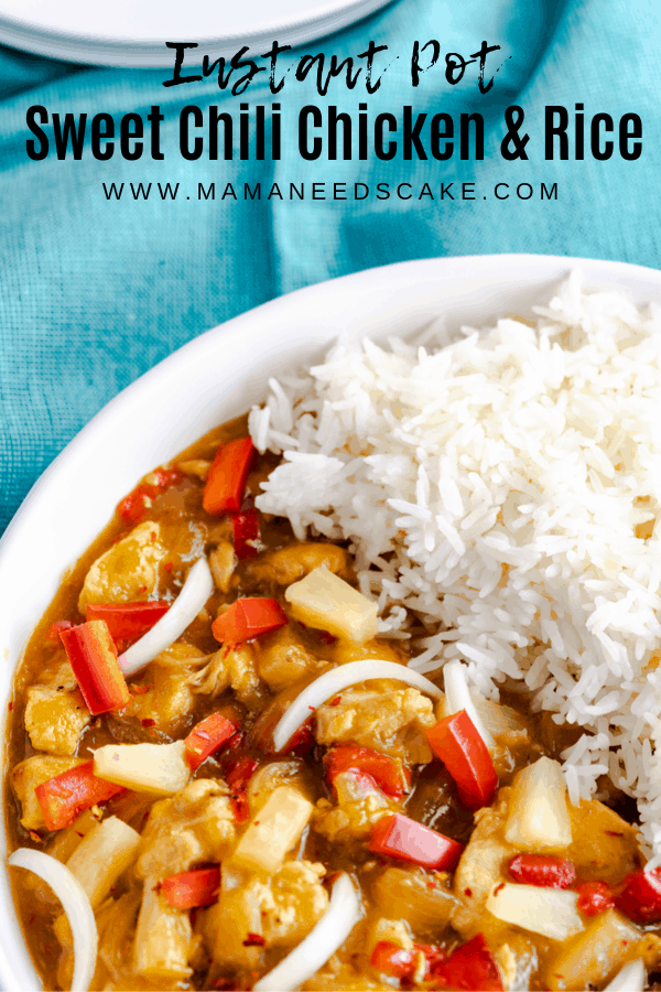 Instant Pot chicken in sweet chili sauce with red peppers and onions. Served with jasmine rice made pot-in-pot.  #instantpot #potinpot #instantpotrice #sweetchilichicken #thaifood #instantpotrecipe #easydinner #quickdinner #under30minutes #pressurecooker #chickenrecipes