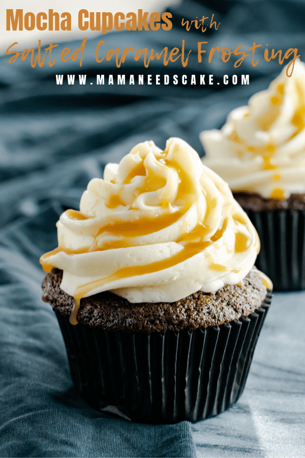 Rich and moist chocolate cupcakes topped with salted caramel frosting and drizzled with homemade salted caramel sauce.   #saltedcaramel #choctoberfest #saltedcaramelfrosting #buttercreamfrosting #chocolatecupcakes #mochacupcakes #easycupcakes #birthdaycupcakes #easybaking #baking