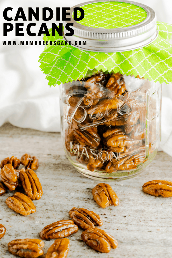 Candied Pecans are great for snacking, topping on salads, and gifts.  These smooth and sweet pecans are easy to make and take under 10 minutes.   #candiedpecans #nuts #pecans #giftjars #christmasgifts #christmastreats #holiday #snacks #snacknuts #saladnuts #candied