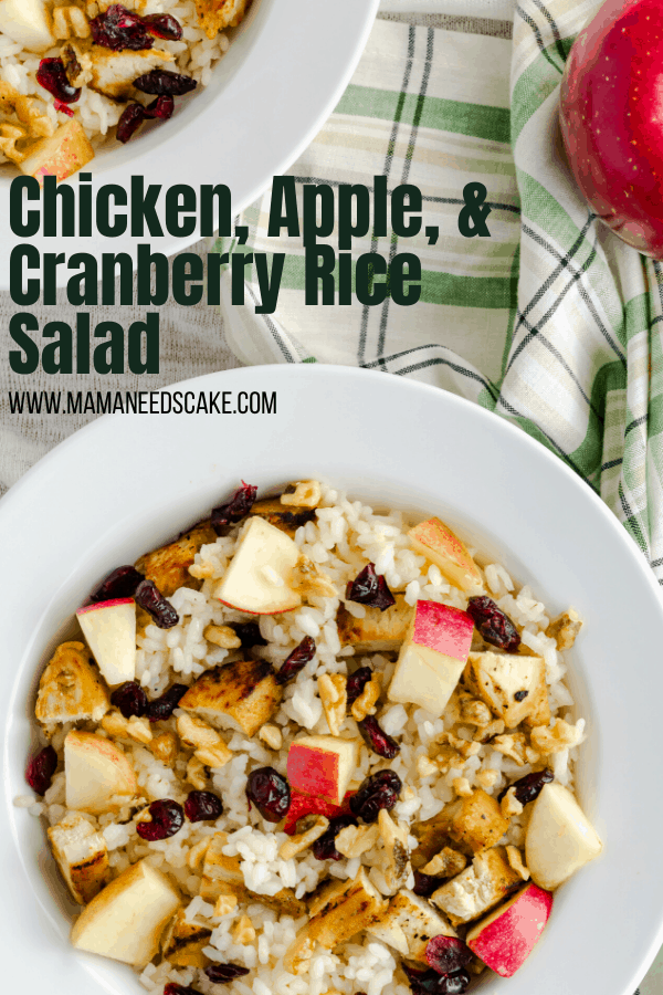 #AD This flavorful salad is made up of juicy diced chicken, dried cranberries, tart apples, and arborio rice.  #UnforgettableRice #lunch #mealprep #arboriorice #rice #apple #cranberry #chicken