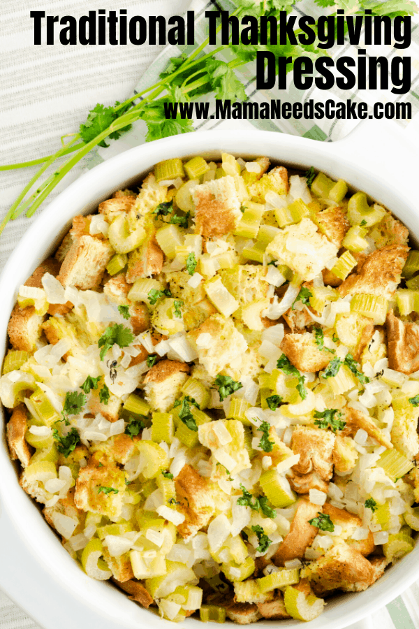 (ad) This traditional Thanksgiving Dressing is made with sauteed celery and onions, bread, and fresh spices and herbs.  #HolidaysWithBTB, #BTBHolidayRecipes, #IC #holidaysides #thanksgivingstuffing #thanksgivingdressing #traditional