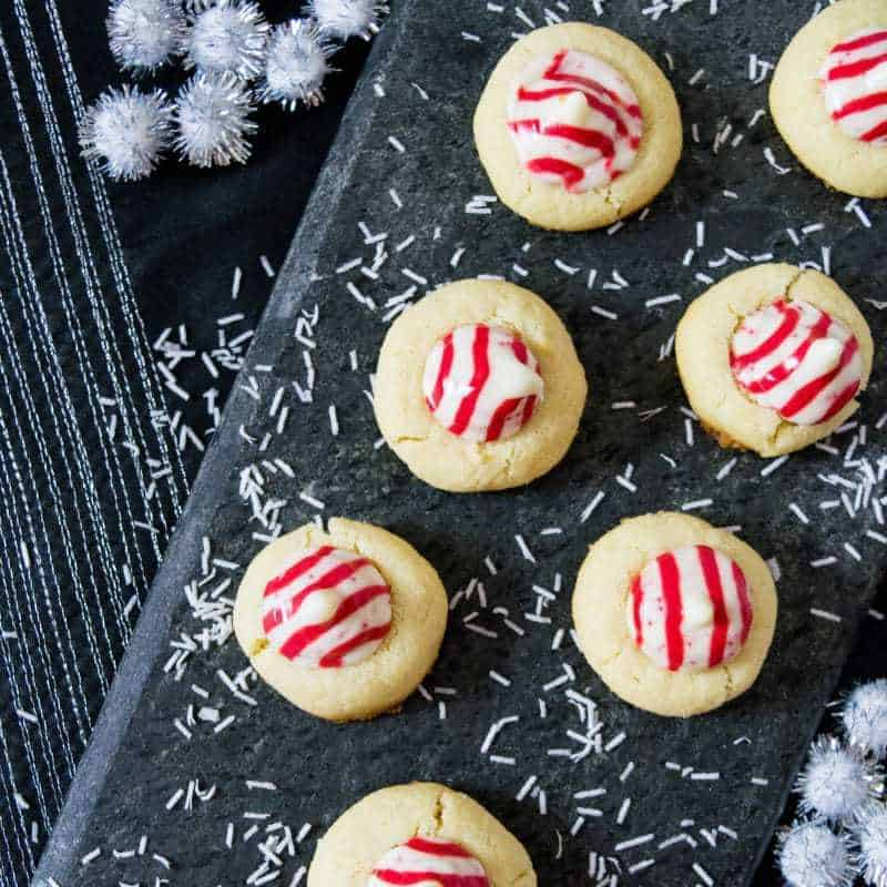 Candy Cane Hershey Kiss Cookie Recipe Square