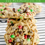 Chewy Chocolate Chip M&M Oatmeal Cookies are easy to make, big, and every bite is chewy! Quick and easy to make and easy enough for the kids to help.