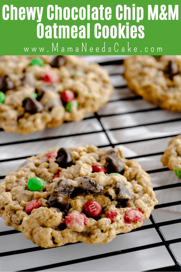 Chewy Chocolate Chip M&M Oatmeal Cookies are easy to make, big, and every bite is chewy!  Quick and easy to make and easy enough for the kids to help.  #christmascookies #oatmealcookies #oatmeal #cookies #chocolatechip #chewycookies #recipes #cookierecipes #easycookies