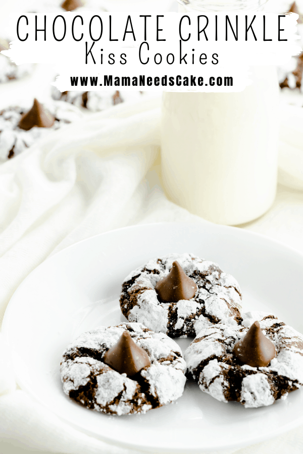 These Chocolate Crinkle Cookies have a soft and fudgy center, are rolled in powdered sugar and have a candy kiss pressed into the center when they're hot out of the oven.  #cookies #thumbprints #christmascookies #hersheykiss #kisscookies #chocolate #crinklecookies #holidaycookies
