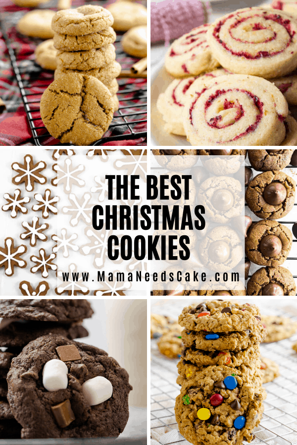 Easy Christmas Cookies recipes make it so much easier during the busy Christmas season.  In times of Holiday baking, cookies are at the top of the list.   #christmascookies #cookies #easycookies #baking #easybaking #chocolatechip #pinwheels #sugarcookies #thumbprintcookies