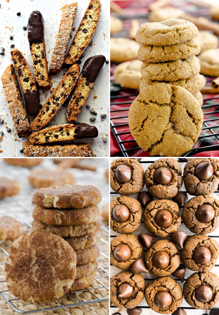 Easy Christmas Cookies collage of four featured recipes.