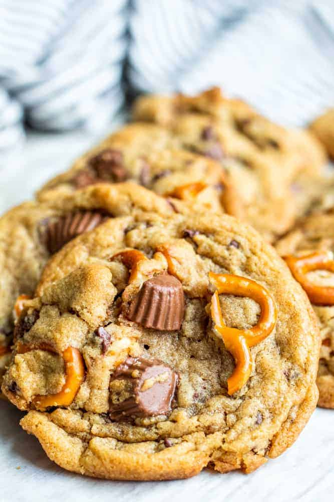 Peanut Butter Cup Cookies with Pretzels BLOG 2