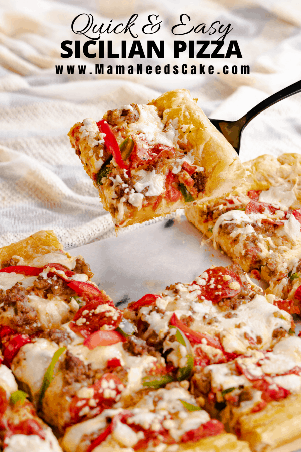 AD Quick & Easy Sicilian Pizza has a thick crust, a sweet sauce, and is topped with fresh mozzarella cheese, pepperoni's, ground sausage, and sliced red and green peppers.  @fleischmannsyeast  #homemadepizzacrust #bakefromscratch #sicilianpizza #pizzacrust #easylunch #easydinner