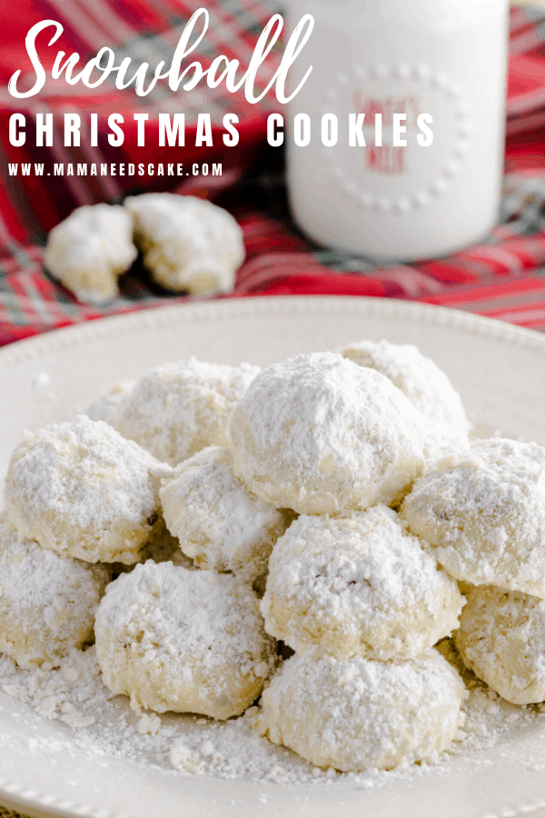 Snowball Christmas Cookies also are known as Mexican Wedding Cookies or Russian Tea Cakes.  These buttery cookies are made with pecans & rolled in powdered sugar.  #holidaycookies #snowballcookies #russianteacakes #christmasdessert #buttercookies #pecans #holidaybaking #baking