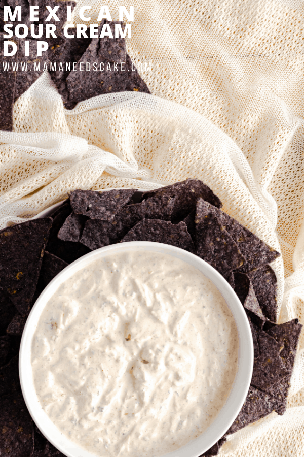 Mexican sour cream dip is made with simple ingredients and is big on flavor.  Perfect for Taco Tuesdays and great as a party appetizer.  #mexican #partyfood #dip #partydip #sourcream #gameday #partyappetizer #glutenfree #glutenfreediet #gamedayfood #gamedayapp