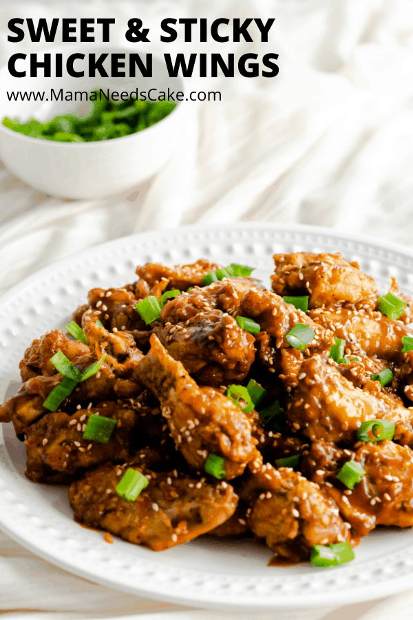 Sweet & Sticky Chicken Wings made with a homemade sweet and sticky sauce, cooked in the Instant Pot, and made crispy in the oven.  #pressurecooker #instantpot #chickenwings #sweetsauce #tangy #chickenwingettes #gamedayfood #gameday #appetizer #partyfood