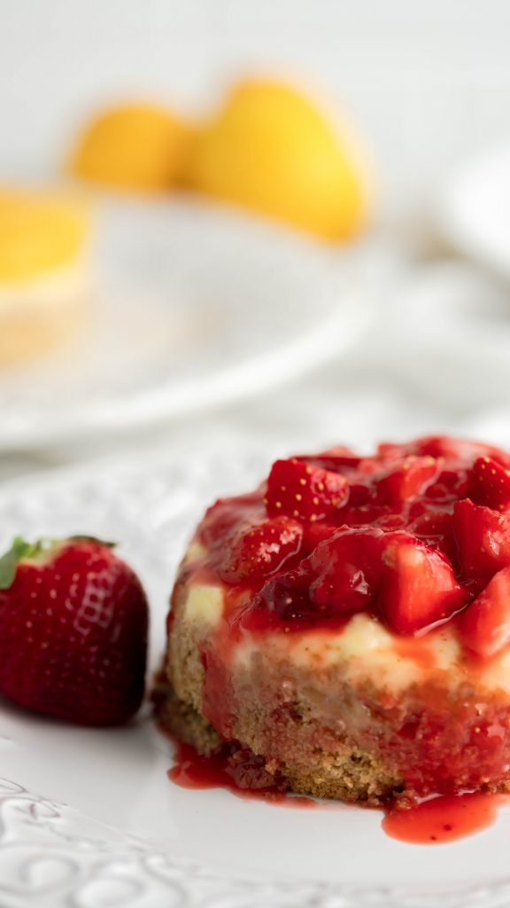 Strawberry compote on top of classic cheesecake.
