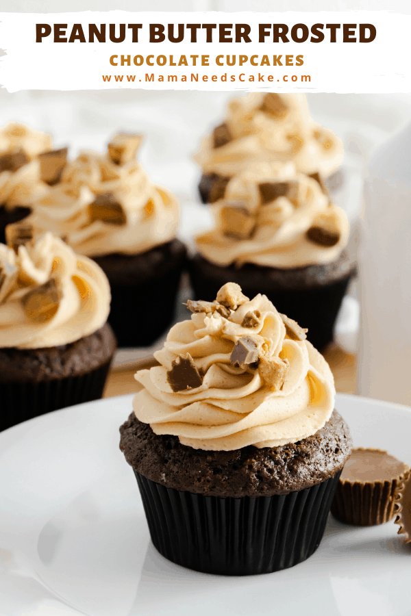 Smooth and creamy peanut butter buttercream frosting topped on moist and flavorful chocolate cupcakes. Topped with chopped peanut butter cups. #peanutbutter #creamypeanutbutter #chocolatecupcakes #cupcakes #dessert #peanutbuttercups #chocolate #birthdaycupcakes #baking #bakefromscratch