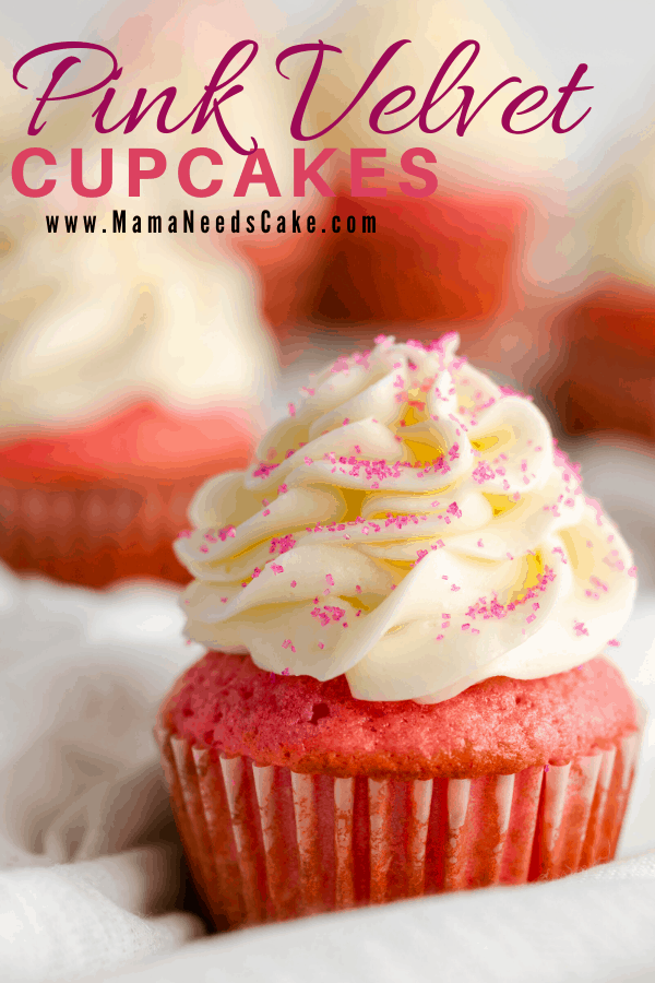 These Pink Velvet Cupcakes are moist and fluffy with a homemade cream cheese frosting.   #pinkvelvet #redvelvet #valentinesday #cupcakes #cupcakes #dessert #galentinesday #birthdaycupcakes #creamcheese #homemade #bakefromscratch