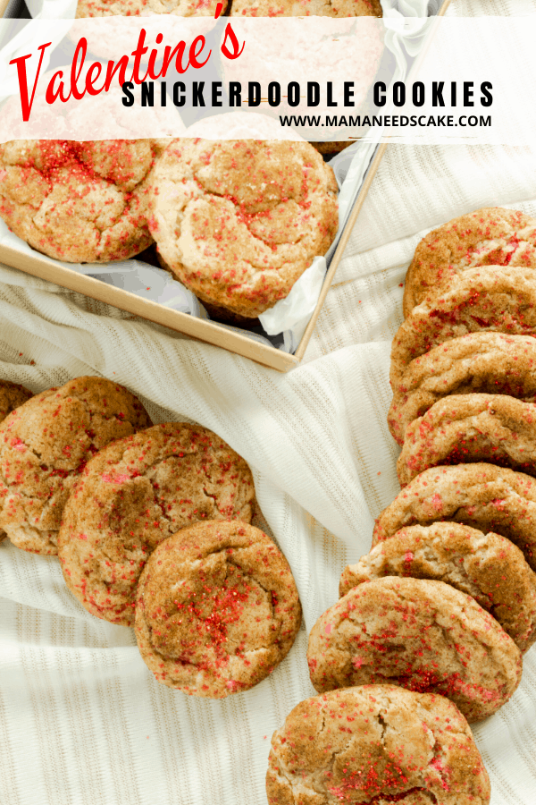 Classic snickerdoodle cookies with a Valentine's Day spin!  These cookies are rolled in a cinnamon-sugar mixture and red sanding sugar. #valentinesday #cookies #valentinescookies #cinnamon #vday #cookiegifts #ediblegifts #sprinkles #galentines