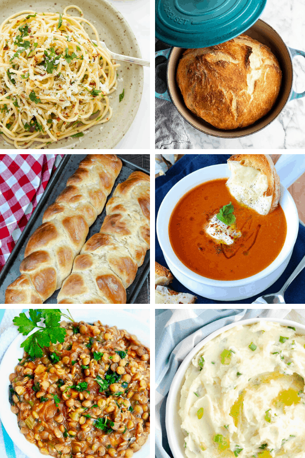 A collage of easy pantry meals including pasta, bread, soup, and potatoes.