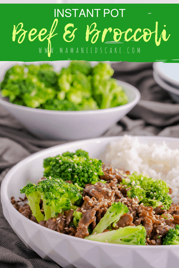 Instant pot beef, broccoli, and rice meal made in the Instant Pot and ready in under 30 minutes.  #instantpot #pressurecooker #beef #broccoli #sesameseeds #flanksteak #jamsinerice #beefandbroccoli #chinese #easydinner