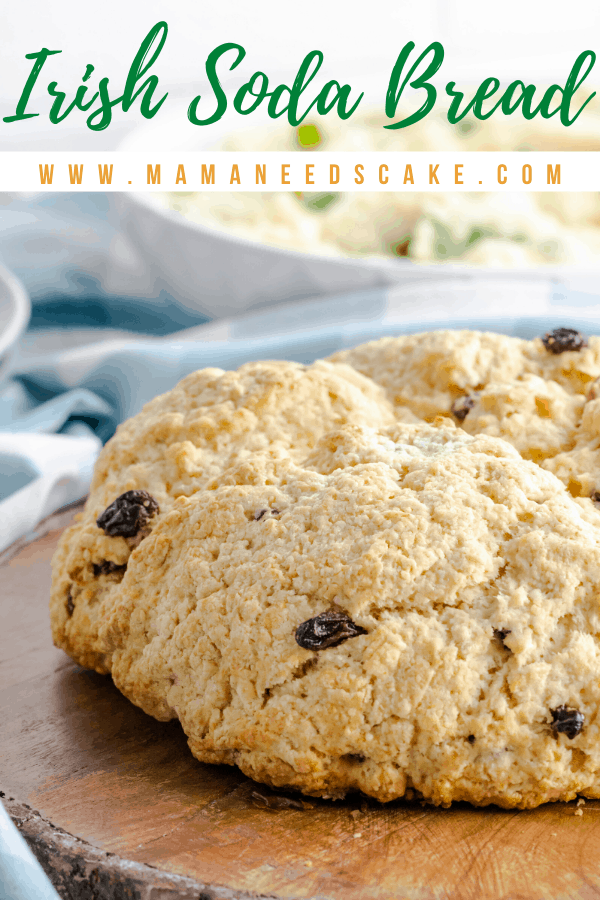 Irish Soda Bread is incredibly easy to make and uses basic ingredients.  Soda bread is unleavened and uses baking soda in place of yeast.  It also uses buttermilk to create flavor and texture.  #bread #sodabread #irishsodabread #stpatricksday #stpattysday #raisins #quickbread