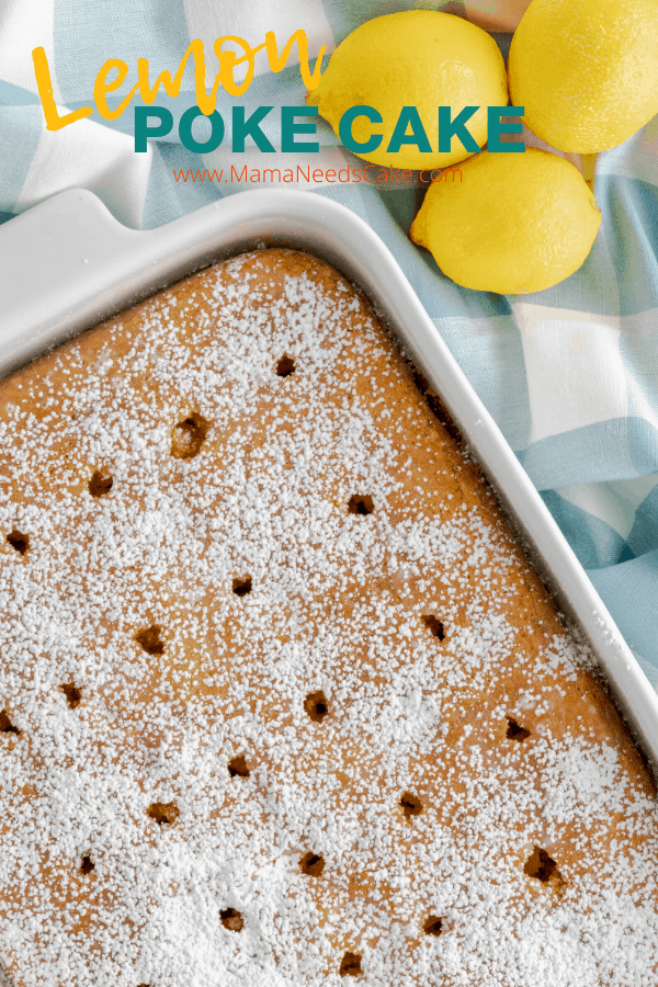 Incredibly moist lemon poke cake made with only eight ingredients including boxed cake mix, lemon extract, and lemon juice.   #potluck #lemoncake #boxedcakemix #cakemix #pantry #lemons #extract #baking #cakes #pokecakes