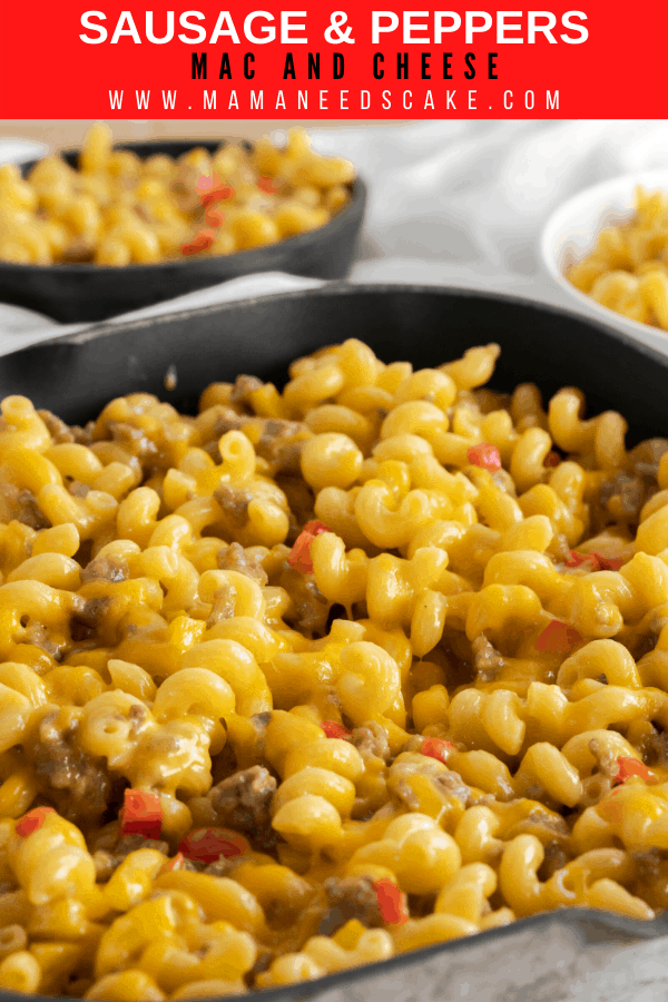 Skillet Sausage & Peppers Mac and Cheese made with ground sausage, red and yellow peppers, and Colby Jack and Sharp Cheddar Cheeses. #sausage #macandcheese #macaroni #pasta #sidedish #maindish #pastadish #peppers #comfortfood