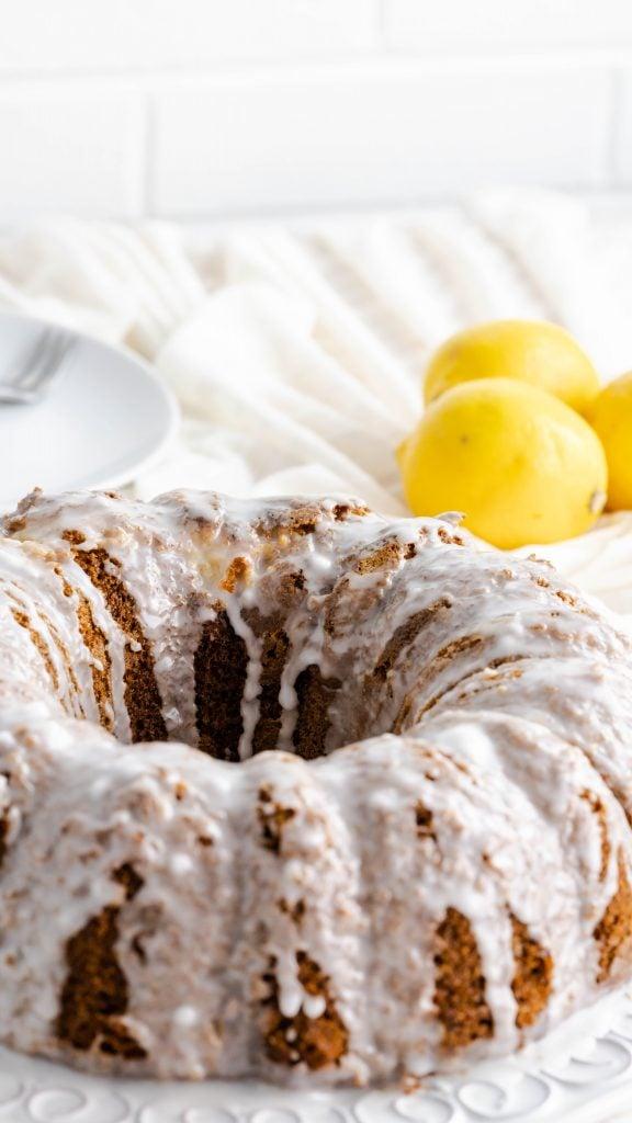 Unsliced 7up lemon pound cake with glaze.