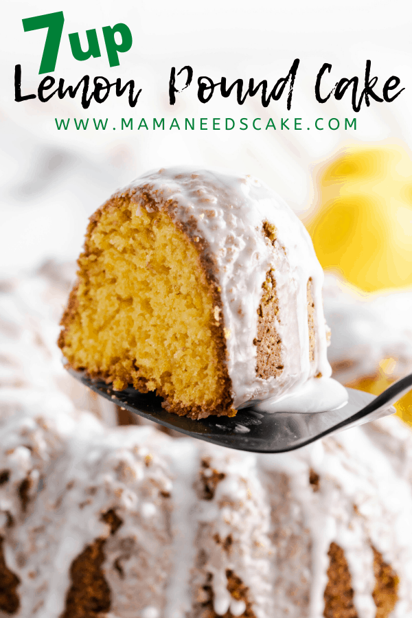 Deliciously moist with flavors of vanilla and lemon 7up pound cake. Made with boxed cake mix and other pantry staples, this pound cake comes together quickly in a bundt pan and it's sure to be a family favorite! It also only uses 7 ingredients!  #lemoncake #bundtcake #7upcake #7up #lemonlime #vanilla #spring #bundt #lemon glaze #lemon #fluffycake #moistcake #easybaking #pantryrecipe #pantrydessert