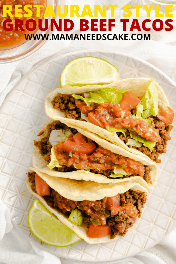 These restaurant style ground beef tacos are made with a homemade blend of seasonings and spooned into corn tortillas.  Topping these authentic tacos is fresh red salsa, tomatoes, and lettuce.   #authentic #cincodemayo #beeftacos #tacos #corntortillas #restaurantstyle #easydinner #homeamade #mexicanfood #tortillas #taconight #tacotuesday