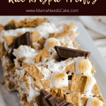 A combination of delicious ingredients, these S'MORES Rice Krispie Treats are made with rice cereal, Golden Grahams, marshmallows, and milk chocolate. Just a few ingredients made this incredibly easy dessert, and it's great to make with kids!