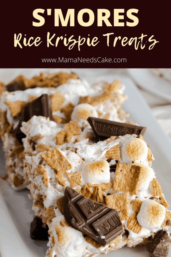 A combination of delicious ingredients, these S'MORES Rice Krispie Treats are made with rice cereal, Golden Grahams, marshmallows, and milk chocolate.  Just a few ingredients made this incredibly easy dessert, and it's great to make with kids!  #nobake #ricecereal #ricecerealtreats #nobakedessert #smoresbars #smores #smorestreats #chocolatebar #goldengraham #cerealtreats #ricekrispies #ricekrispy #summertreat #summer