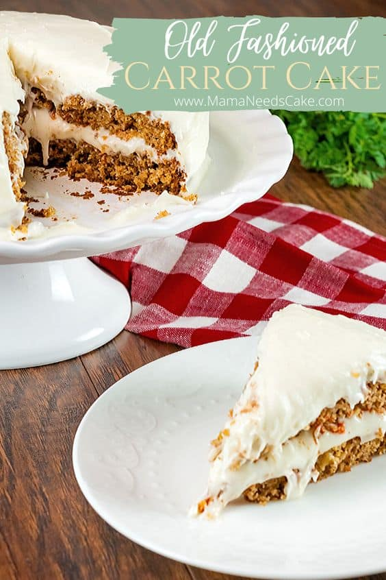 Classic Carrot Cake perfect for Holiday celebrations such as Easter. Incredibly moist and delicious cake. #easter #cake #carrotcake #tradition #creamcheese #dessert #baking #scratchbaking