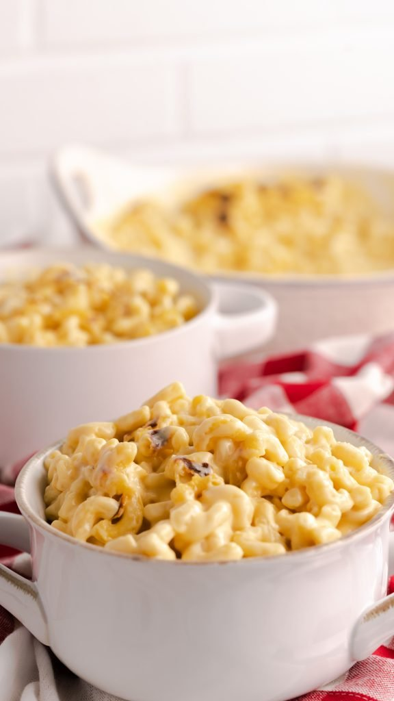 Two bowls of Instant Pot Chick Fil A copycat macaroni and cheese