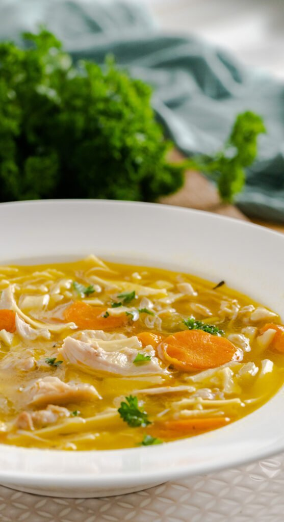 A bowl of pressure cooker chicken noodle soup with sliced carrots and garnished with parsley.
