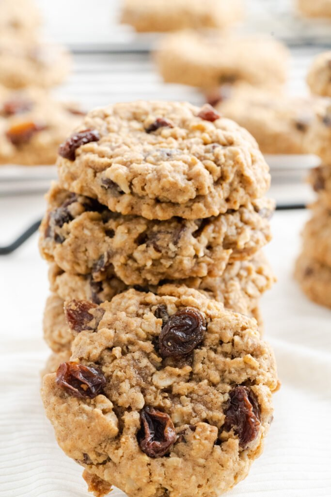 A stack of oatmeal raisin cookies with cookie propped in front.
