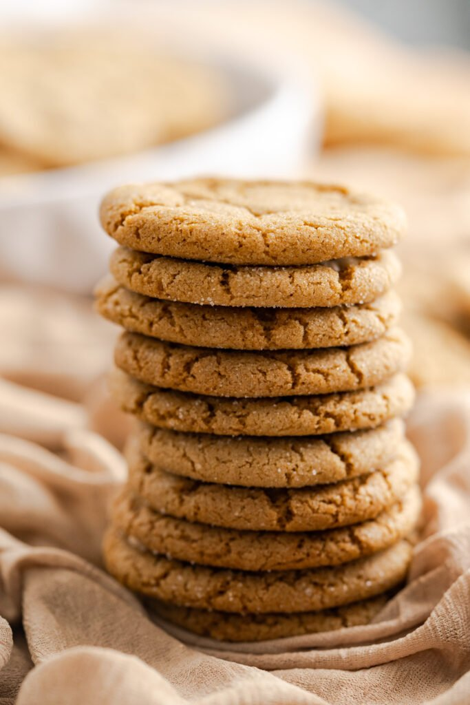 10 gingersnap cookies stacked on top of each other.